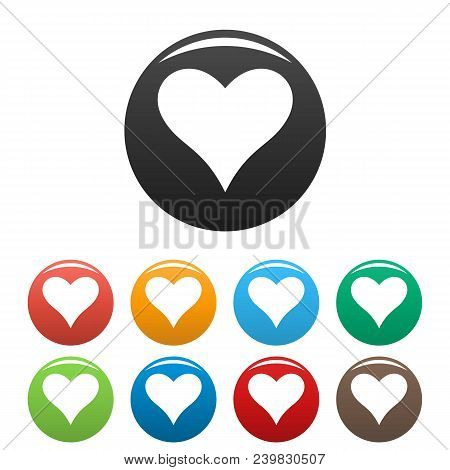 Affectionate heart icon. Simple illustration of affectionate heart vector icons set color isolated on white poster