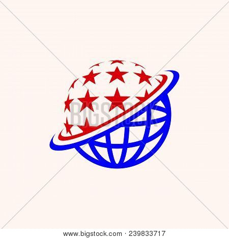 Globe With Star Radiation, Or Also Stars With Globe Fades, In Red And Blue, Eps 10.