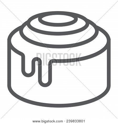 Cinnamon Bun Roll Line Icon, Sweet And Tasty, Dessert Sign Vector Graphics, A Linear Pattern On A Wh