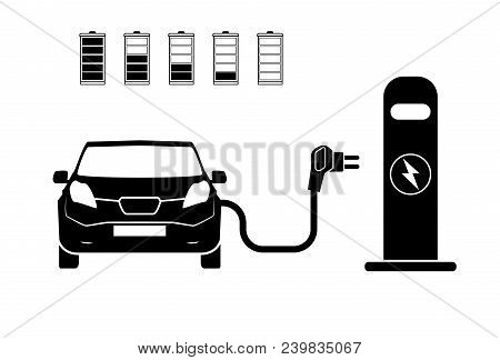 Charging Station Electric Car Black Icons Set.. Electric Car Charging Icon Isolated. Electric Vehicl