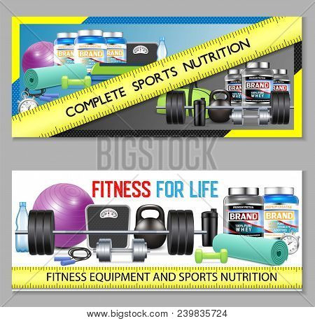 Sports Nutrition Vector Horizontal Banner Set. Complete Sports Nutrition Product And Fitness Equipme