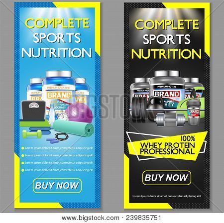 Complete Sports Nutrition Vector Vertical Banner Set. Sports Nutrition Supplements Whey Protein And