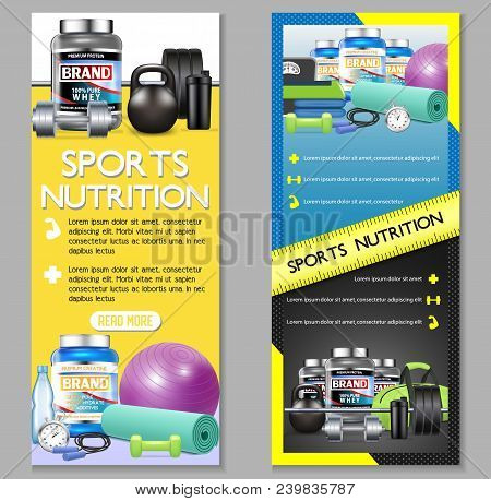 Sports Nutrition Vector Vertical Banner Set. Sports Nutrition Supplements Whey Protein And Creatine