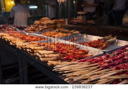 Detail Of Lamb Kebab In A Street Market At The Muslim Quarter In The City Of Xian, In China.
