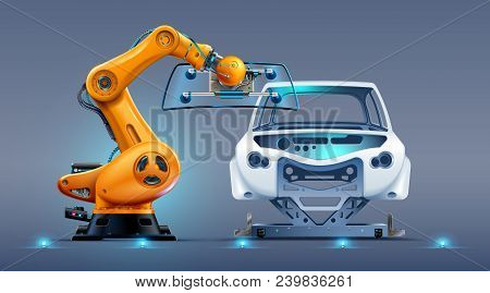 Robot Arm Work On Car Factory Or Manufacturing Line. Robotic Hand Attaches Windshield Or Glass On Ca