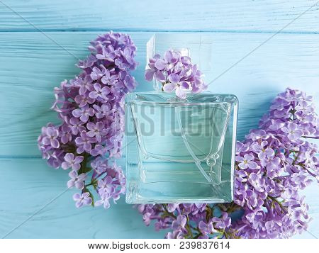 Perfume Lilac On Wooden Remedy, Water, Light, Closeup, Vintage