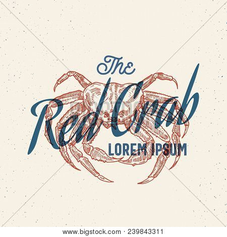 The Red Crab Seafood. Retro Print Effect Card. Abstract Vector Sign, Symbol Or Logo Template. Hand D