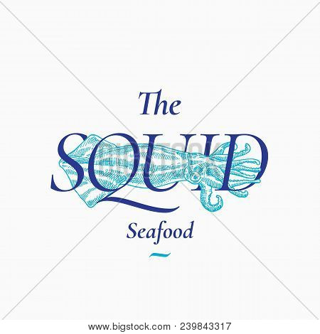 Calamary Seafood Abstract Vector Sign, Symbol Or Logo Template. Hand Drawn Squid Illustration With C