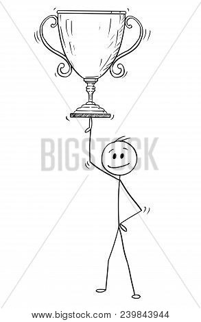 Cartoon Stick Man Drawing Conceptual Illustration Of Businessman Balancing Winner Trophy Cup On One