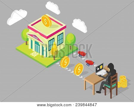 Bank Hacking Process Flowchart. Vector Isometric Illustration. Anonymous Hacker Programmer Wearing H