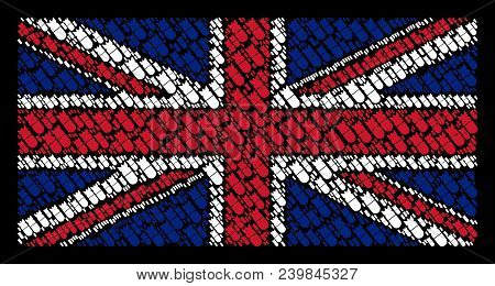 British Flag Mosaic Combined Of Aviation Bomb Pictograms On A Dark Background. Vector Aviation Bomb