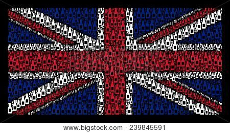 British State Flag Collage Organized Of Beer Bottle Design Elements On A Dark Background. Vector Bee