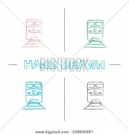 Train Hand Drawn Icons Set. Color Brush Stroke. Rail Transport Vehicle. Isolated Vector Sketchy Illu