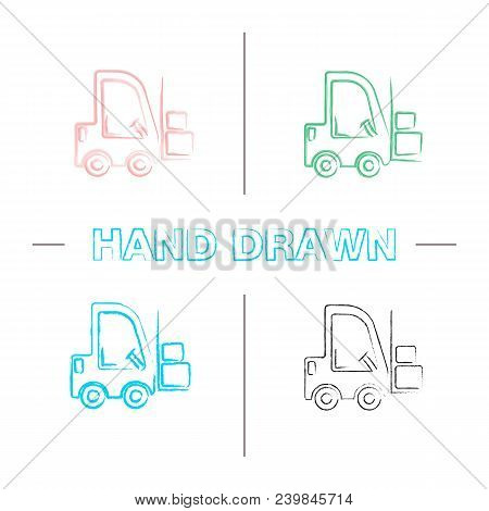 Forklift Hand Drawn Icons Set. Color Brush Stroke. Lift Truck. Isolated Vector Sketchy Illustrations