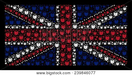 Uk State Flag Concept Combined Of Bug Pictograms On A Dark Background. Vector Bug Pictograms Are For