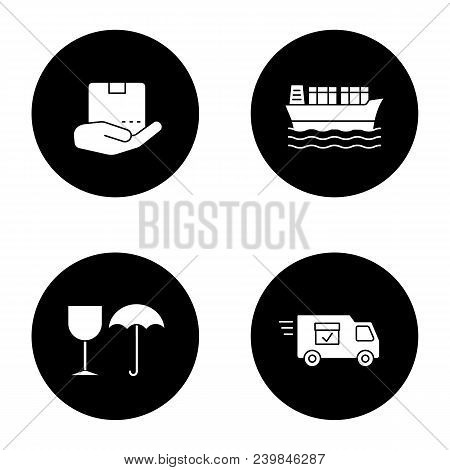 Cargo Shipping Glyph Icons Set. Delivery Service. Open Hand With Parcel, Cargo Vessel, Fragile, Deli