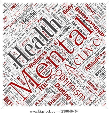Conceptual mental health or positive thinking square red word cloud isolated background. Collage of optimism, psychology, mind healthcare, thinking, attitude balance or motivation text