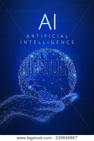Artificial intelligence and cyber space concept futuristic hud background with glowing polygon world globe in a hand, blockchain peer to peer network and title AI. Global cryptocurrency banner concept