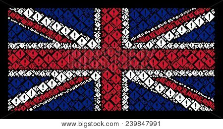 Uk State Flag Concept Composed Of Error Icons On A Dark Background. Vector Error Design Elements Are