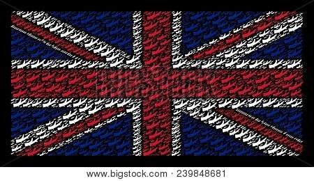 United Kingdom Flag Pattern Constructed Of Firewood Icons On A Dark Background. Vector Firewood Item