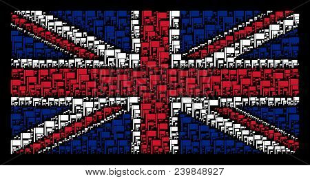 English State Flag Mosaic Created Of Flag Elements On A Dark Background. Vector Flag Icons Are Unite