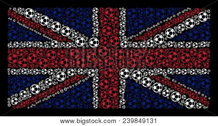 United Kingdom State Flag Mosaic Combined Of Football Ball Elements On A Dark Background. Vector Foo