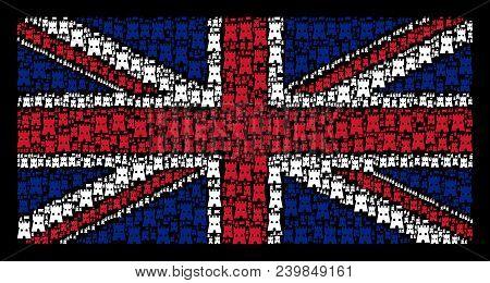 United Kingdom Flag Concept Designed Of Fortress Tower Design Elements On A Dark Background. Vector