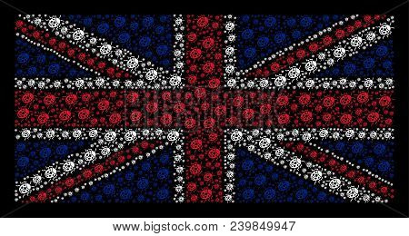 United Kingdom State Flag Pattern Organized Of Ladybird Bug Pictograms On A Dark Background. Vector