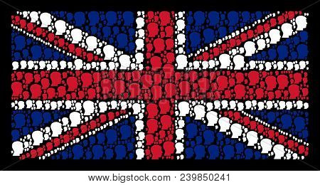 British Flag Concept Done Of Man Head Profile Elements On A Dark Background. Vector Man Head Profile