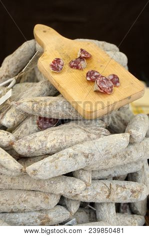 Salami Exposed In A Gastronomic Festival In The Village Of Iseo In The Province Of Brescia - Lombard