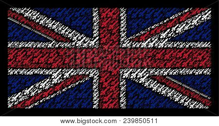 United Kingdom State Flag Composition Done Of Missile Launch Icons On A Dark Background. Vector Miss