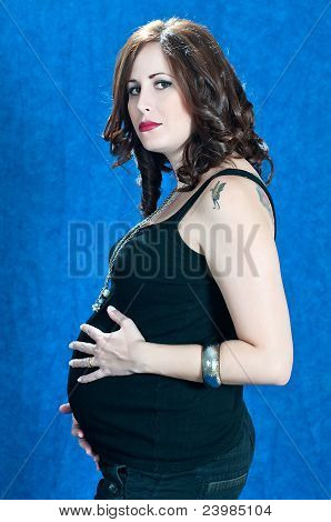 Young Brunette Woman Pregnancy