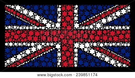 Uk State Flag Concept Designed Of Six Pointed Star Icons On A Dark Background. Vector Six Pointed St