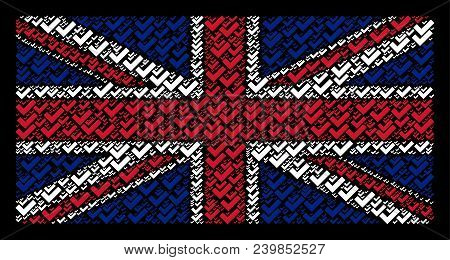 Uk State Flag Pattern Made Of Yes Elements On A Dark Background. Vector Yes Items Are Formed Into Co