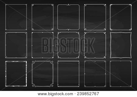 Chalk Frame Set. Black Surface For Text Or Drawing Done With Chalk, Dark-coloured Board For Ornament