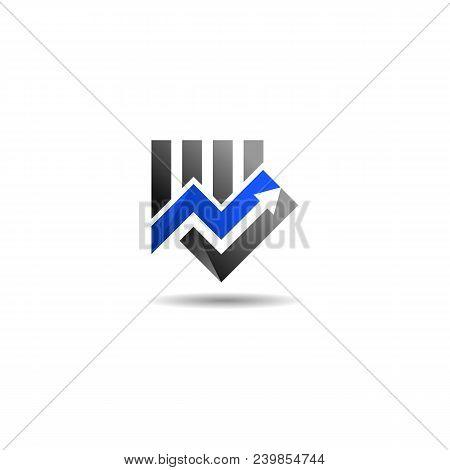 Financial Market Logo. Marketing Exchange Icon. Arrow Sign. Statistic Symbol. Vector Template Ready