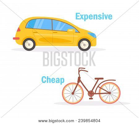 Cheap Expensive Vector. Cartoon. Isolated Art On White Background. Flat