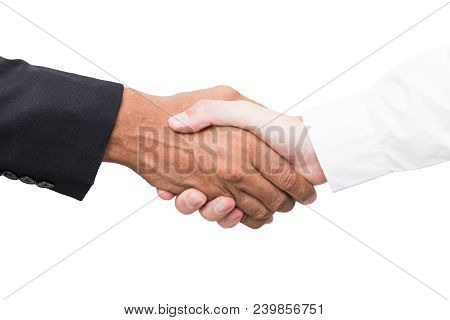 Business Handshake And Business People Concepts. Close Up Of A Handshake Isolated On White Backgroun