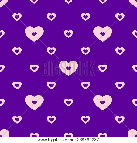 Hearts Vector Pattern. Abstract Colorful Seamless Geometric Texture. Valentines Day Background. Love