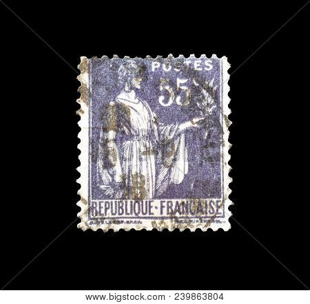 France - Circa 1937 : Cancelled Postage Stamp Printed By France, That Shows Allegory Of Peace.