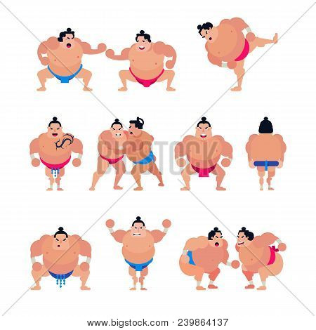 Sumo Vector Japanese Fighter Or Sumowrestler Character Of Traditional Sport In Japan Illustration Se