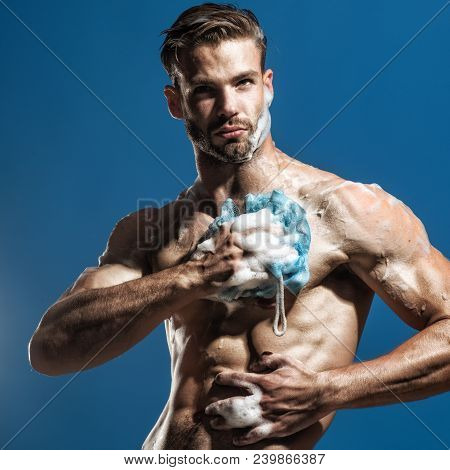 Spa And Beauty, Relax And Hygiene, Healthcare - Handsome Man Washing With Sponge In Shower. Athletic