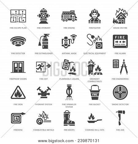 Firefighting, Fire Safety Equipment Flat Glyph Icons. Firefighter Car, Extinguisher, Smoke Detector,