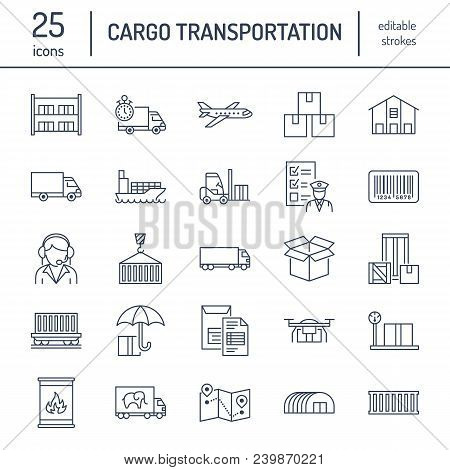 Cargo Transportation Flat Line Icons. Trucking, Express Delivery, Logistics, Shipping, Customs Clear