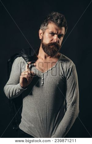 Autumn-winter Fashion. Fashion For Men. Stylish Handsome Bearded Man With Stylish Hairdo In Gray Pul