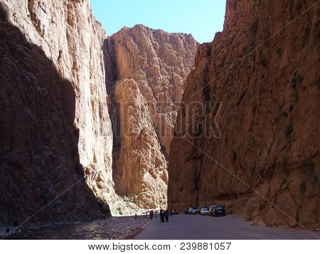 Fabulous African Rocky Slope Todgha Gorge Canyon Landscapes In Morocco At High Atlas Mountains Range