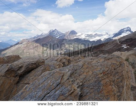 Geological Panorama Of Alpine Mountains Range Landscapes In Swiss Alps At Switzerland, Rocky Scenery