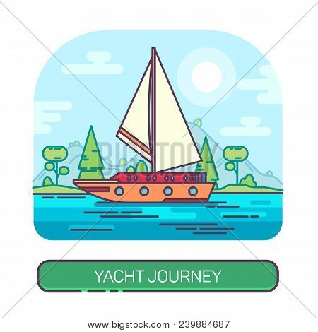 Yacht With Sails At Sea Or Ship Traveling At Ocean, Travel Boat On Water. Sailboat At Seascape. Voya