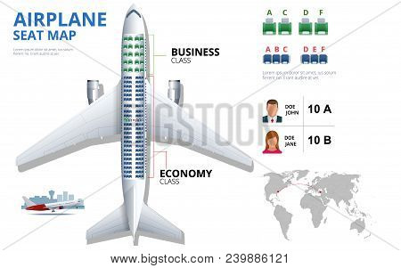 Chart Airplane Seat, Plan, Of Aircraft Passenger. Aircraft Seats Plan Top View. Business And Economy
