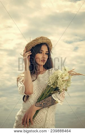 Woman With Floral Bouquet, Fashion. Beauty, Fashion, Look, Makeup, Visage. Womens Day, 8 March, Spri